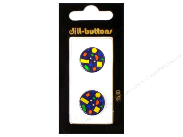 Dill 2 Hole Buttons 11/16 in. Confetti Navy #1530 2pc.