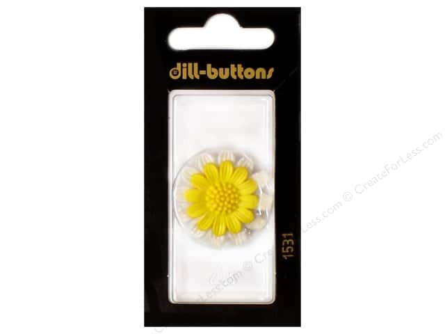 Dill Shank Buttons 1 1/8 in. Yellow Flower #1531 1pc.