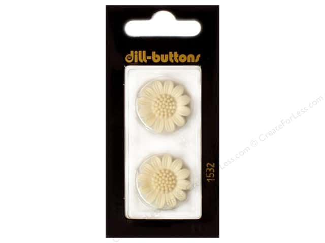 Dill Shank Buttons 13/16 in. White Flower #1532 2pc.