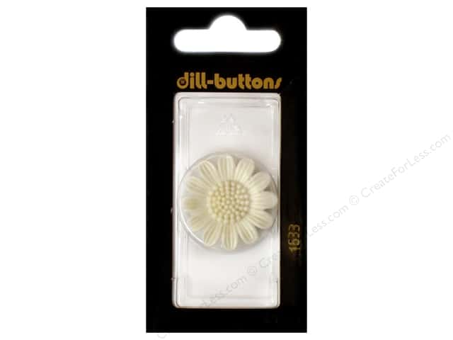 Dill Shank Buttons 1 1/8 in. White Flower #1533 1pc.