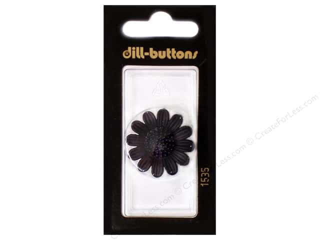 Dill Shank Buttons 1 1/8 in. Black Flower #1535 1pc.