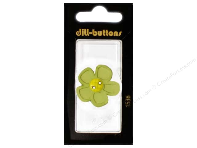 Dill 2 Hole Buttons 1 1/8 in. Light Green Flower #1536 1pc.