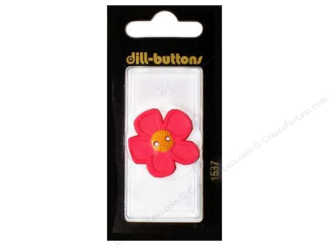 Dill 2 Hole Buttons 1 1/8 in. Pink Flower #1537 1pc.