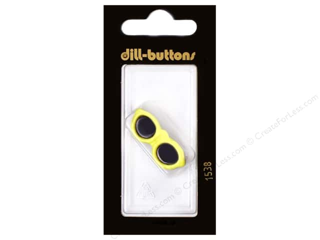 Dill Shank Buttons 1 1/4 in. Yellow Sunglasses #1538 1 pc.