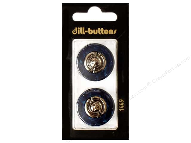 Dill Shank Buttons 1 in. Metal Navy #1449 2 pc.