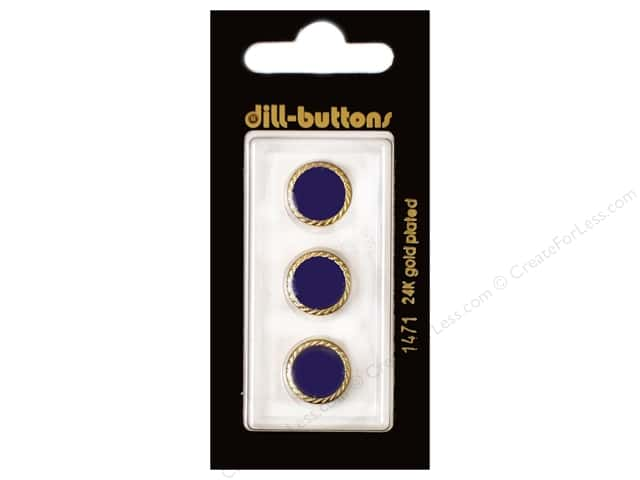 Dill Shank Buttons 1/2 in. Enamel Navy #1471 3pc.