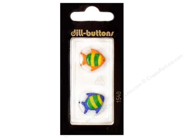 Dill Shank Buttons 11/16 in. Blue and Red Fish #1540 2pc.