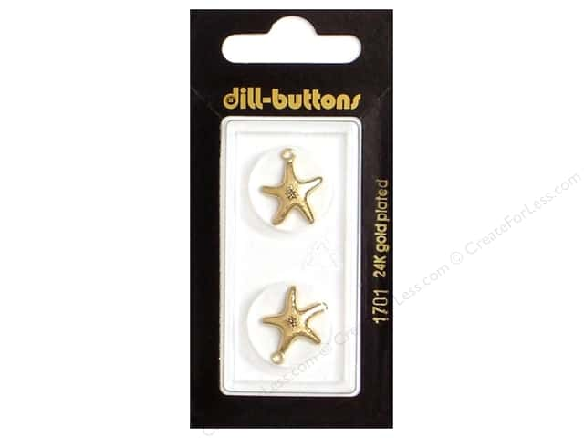 Dill Buttons 11/16 in. Gold Metal Starfish Charm #1701 2 pc.