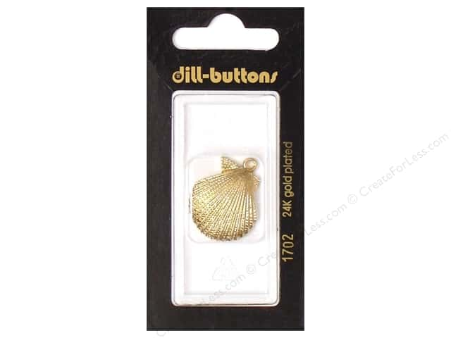 Dill Buttons 1 in.  Gold Shell Charm #1702 1pc.