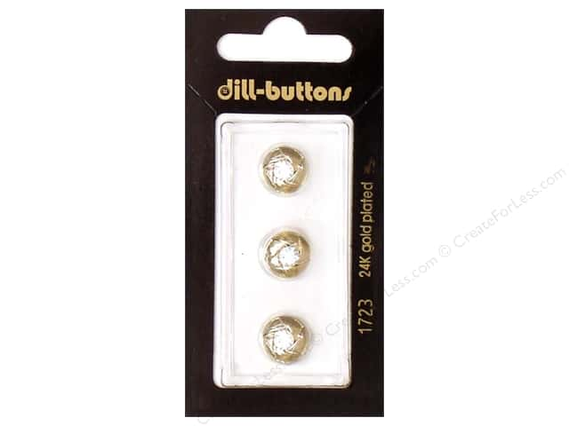 Dill Shank Buttons 3/8 in. Gold Round Rhinestone #1723 3pc.