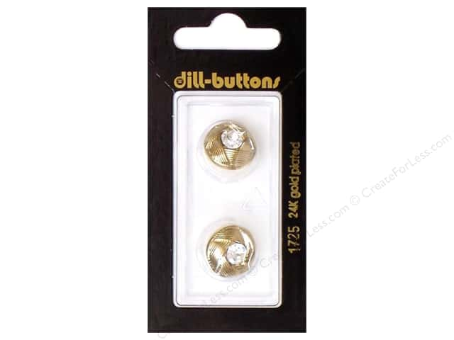 Dill Shank Buttons 5/8 in. Gold Round Rhinestone #1725 2pc.