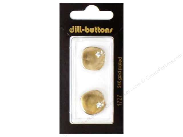 Dill Shank Buttons 11/16 in. Gold Rhinestone Corner #1726 2pc.