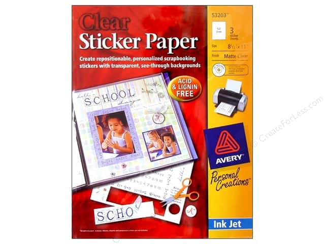 Avery Sticker Paper 8 1/2 x 11 in. Clear 3 pc.