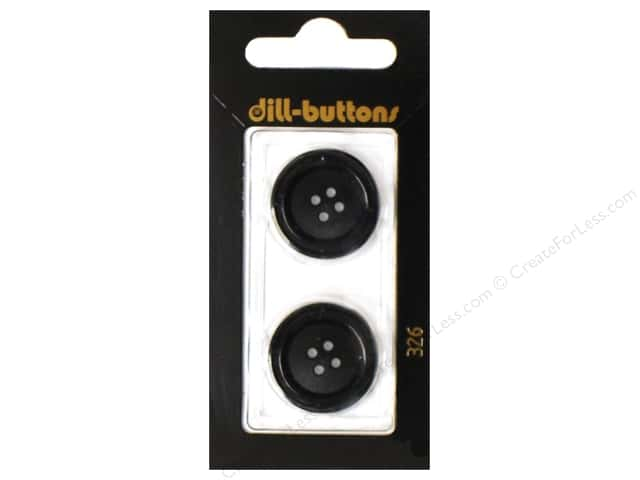 Dill 4 Hole Buttons 7/8 in. Black #326 2pc.