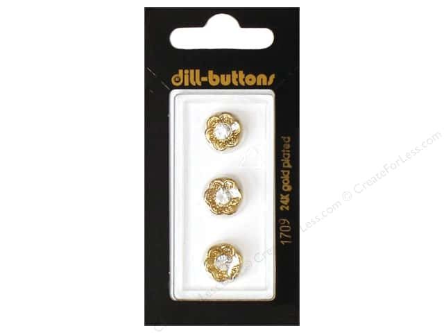 Dill Shank Buttons 7/16 in. Gold Flower with Rhinestone#1709 3pc.