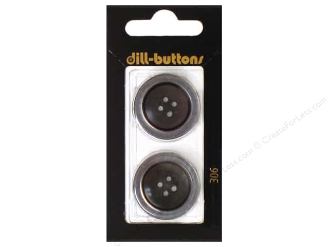 Dill 4 Hole Buttons 1 in. Grey #306 2pc