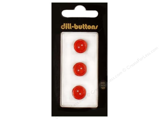 Dill 2 Hole Buttons 7/16 in. Red #618 3pc.