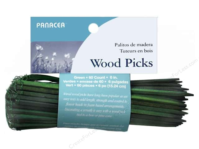 Panacea Wired Wood Floral Picks 6 in. 60 pc. Green