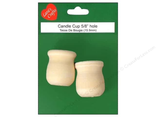 Lara's Wood Candle Cup Medium 5/8 in. Hole 2 pc.