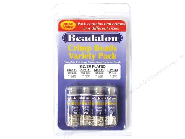 Beadalon Crimp Bead Variety Pack Silver Plated 600 pc.
