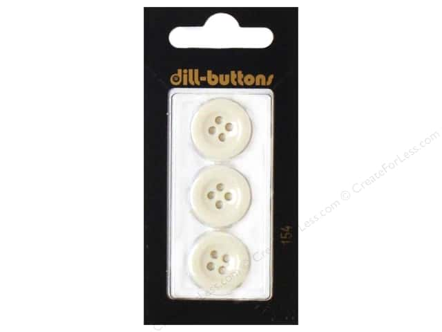 Dill 4 Hole Buttons 11/16 in. White #154 3pc.