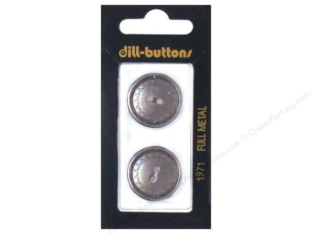 Dill 2 Hole Buttons 7/8 in. Dull Silver Metal #1971 2pc.
