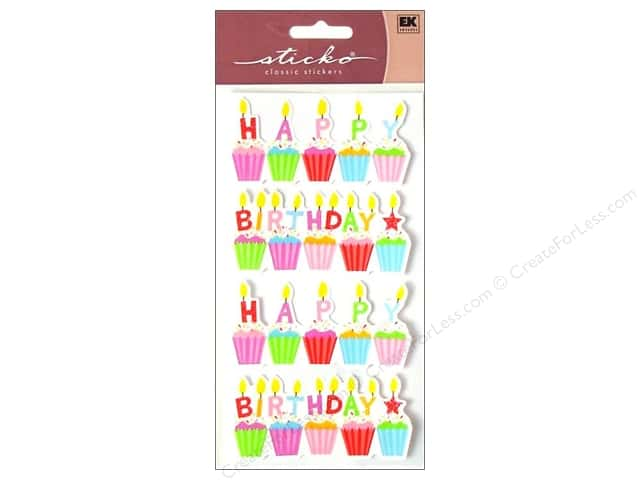EK Sticko Stickers Glitter Birthday Cakes