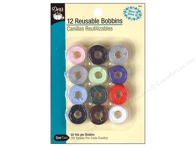 Dritz Pre-Filled Bobbins 12 pc. Class 15 Multi
