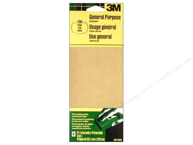 3M Aluminum Oxide Sandpaper 3 x 9 in. 6 pc. Fine #150