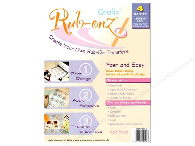 "Grafix Rub Onz Film Sheet 8.5""x 11"" Ink Jet/Laser 4pc"