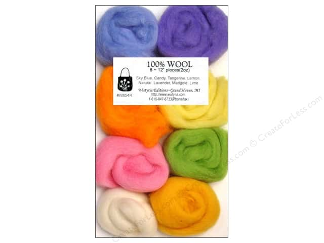 Wistyria Editions 100% Wool Roving 8 pc Cotton Candy