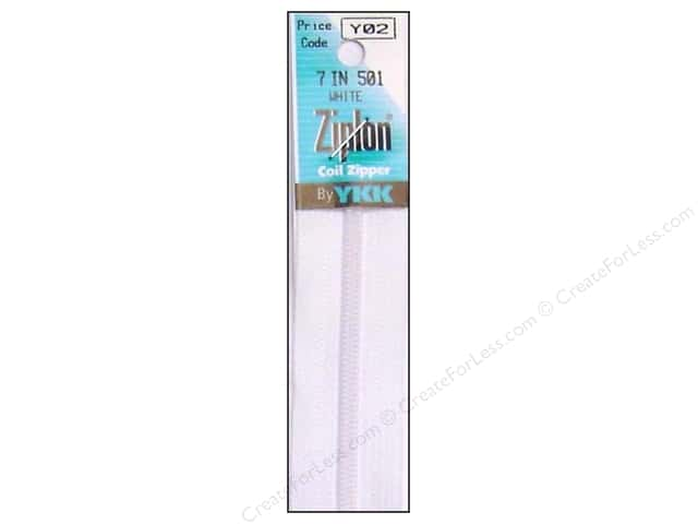 YKK Ziplon Coil Zipper 7 in. White