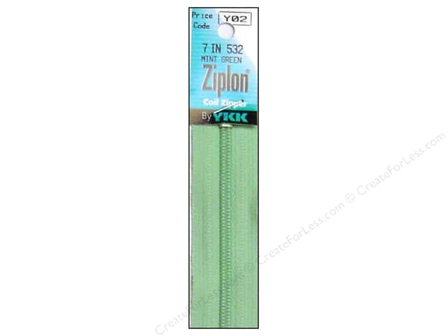 YKK Ziplon Coil Zipper 7 in. Mint Green