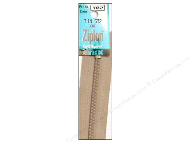 YKK Ziplon Coil Zipper 7 in. Bone