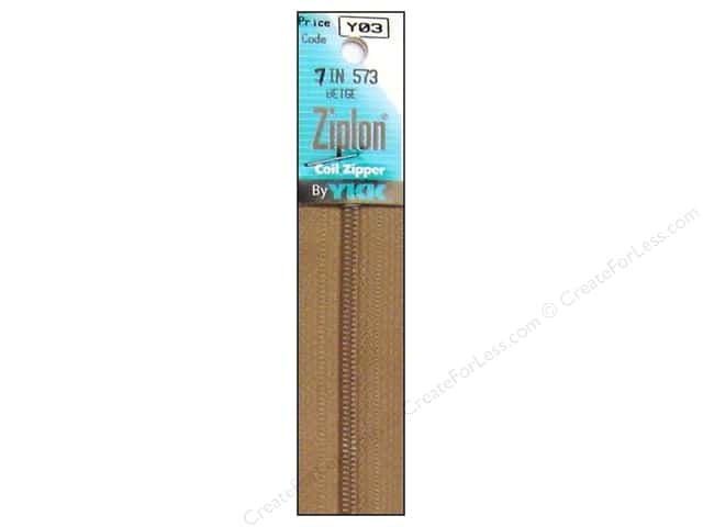 YKK Ziplon Coil Zipper 7 in. Beige