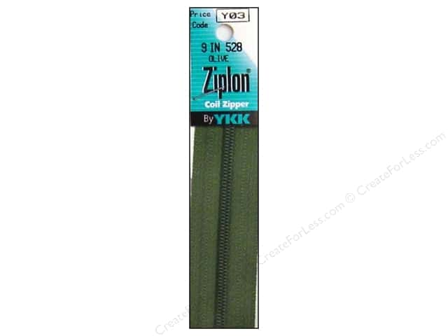 YKK Ziplon Coil Zipper 9 in. Olive