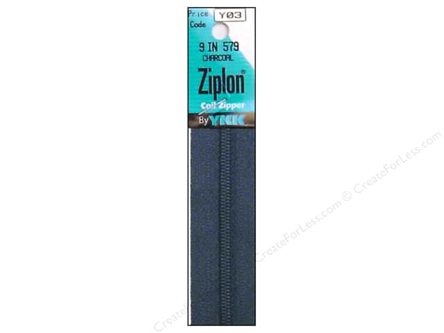 YKK Ziplon Coil Zipper 9 in. Charcoal
