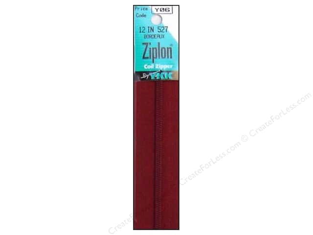 YKK Ziplon Coil Zipper 12 in. Bordeaux