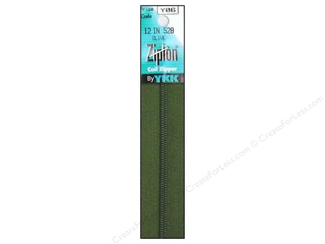 YKK Ziplon Coil Zipper 12 in. Olive