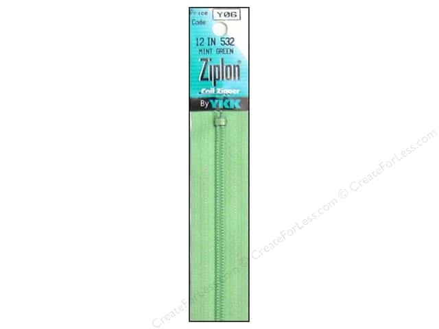 YKK Ziplon Coil Zipper 12 in. Mint Green
