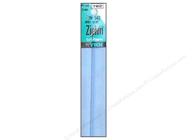 YKK Ziplon Coil Zipper 7 in. Baby Blue
