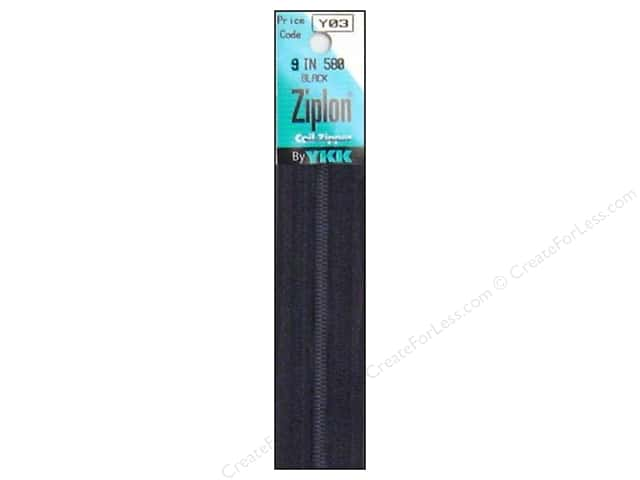 YKK Ziplon Coil Zipper 9 in. Black