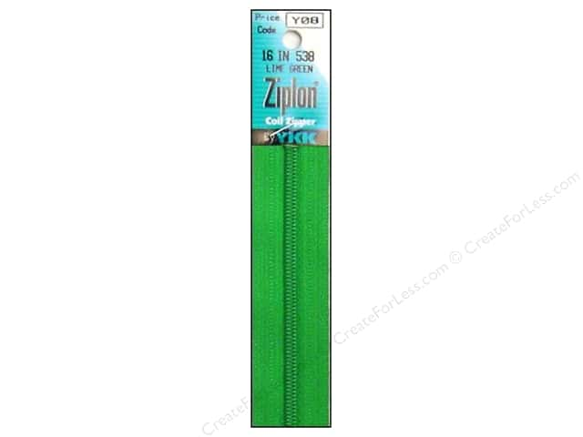 YKK Ziplon Coil Zipper 16 in. Lime Green