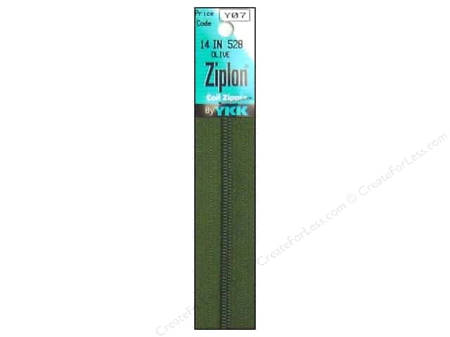 YKK Ziplon Coil Zipper 14 in. Olive