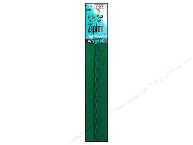 YKK Ziplon Coil Zipper 14 in. Kelly Green