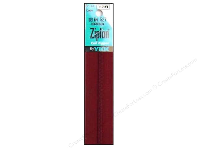 YKK Ziplon Coil Zipper 18 in. Bordeaux