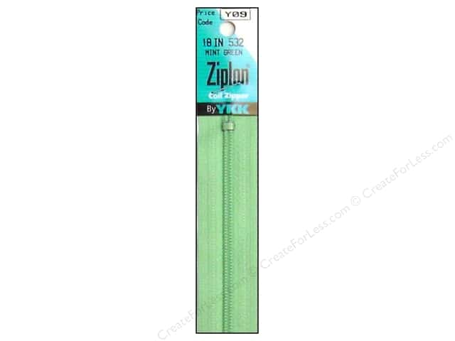 YKK Ziplon Coil Zipper 18 in. Mint Green