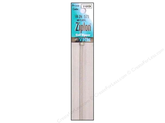 YKK Ziplon Coil Zipper 18 in. Natural