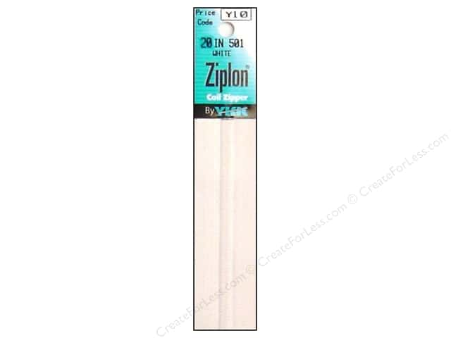 YKK Ziplon Coil Zipper 20 in. White