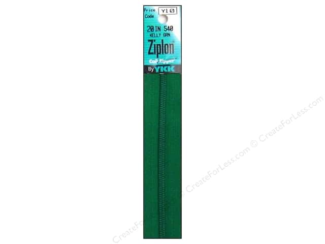 YKK Ziplon Coil Zipper 20 in. Kelly Green